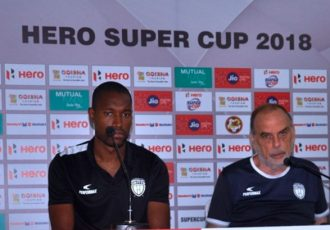 NorthEast United FC Press Conference ahead of the Hero Super Cup encounter against Gokulam Kerala FC (Photo courtesy: AIFF Media)
