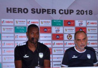 NorthEast United FC Press Conference ahead of the Hero Super Cup encounter against Gokulam Kerala FC (Photo courtesy: AIFF Media)
