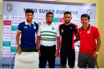 ATK and Chennai City FC Press Conference ahead of their Hero Super Cup match (Photo courtesy: AIFF Media)