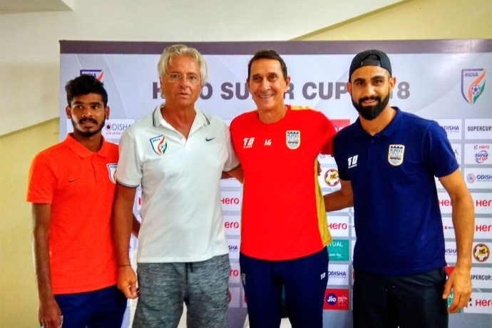 Mumbai City FC and Indian Arrows Press Conference ahead of their Hero Super Cup match (Photo courtesy: AIFF Media)