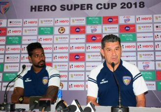 Head coach John Gregory during Chennaiyin FC's Hero Super Cup 2018 pre-match press conference. (Photo courtesy: AIFF Media)