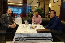 Dr. Michael Feiner, Consul General, Federal Republic of Germany with Mizoram Football Association (MFA) Honorary Secretary Pu Lalnghinglova Hmar and President Lal Thanzara. (Photo courtesy: MFA)