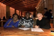 Romelu's mother Adolphine, Romelu Lukaku and Roc Nation's Michael Yormark (Roc Nation Sports)