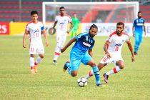 Bengaluru FC defender Subhasish Bose in action against New Radiant SC at the Rasmee Dhandu Stadium, in Male, on Wednesday. (Photo courtesy: Bengaluru FC)