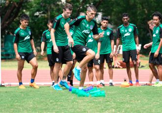 Bengaluru FC training session at the Kalinga Stadium training grounds, in Bhubaneswar. (Photo courtesy: Bengaluru FC)