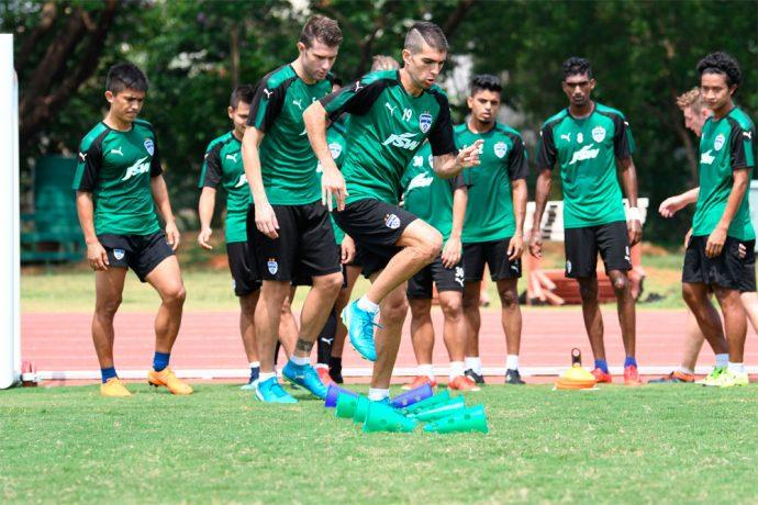 Bengaluru FC training session at the Kalinga Stadium training grounds, in Bhubaneswar. (Photo courtesy: Bengaluru FC)