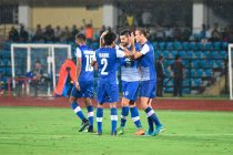 Bengaluru FC striker Daniel Segovia is congratulated by his teammates after equalising against Aizawl FC in an AFC Cup 2018 clash at the Indira Gandhi Athletic Stadium, in Guwahati. (Photo courtesy: Bengaluru FC)