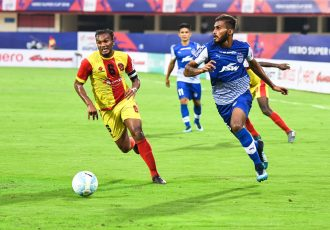 Bengaluru FC defender Subhasish Bose in action against Gokulam Kerala FC in the Hero Super Cup pre-quarterfinal at the Kalinga Stadium, in Bhubaneswar, on April 1, 2018. (Photo courtesy: Bengaluru FC)