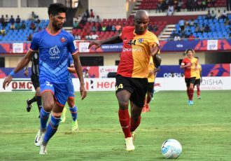 East Bengal star Dudu Omagbemi in action against FC Goa in the 2018 Hero Super Cup. (Photo courtesy: AIFF Media)
