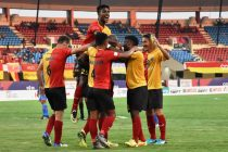 East Bengal Club players celebrating a goal in the 2018 Hero Super Cup. (Photo courtesy: AIFF Media)
