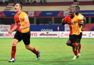East Bengal's Mahmoud Al-Amna celebrating his goal against Mumbai City FC in the Hero Super Cup 2018. (Photo courtesy: AIFF Media)