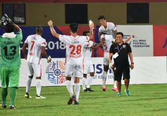 NEROCA FC celebrating their win against Kerala Blasters FC in the Hero Super Cup (Photo courtesy: AIFF Media)