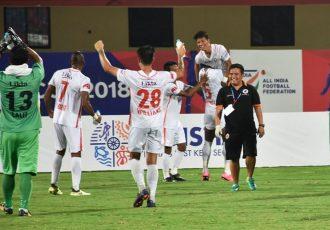 NEROCA FC celebrating their win against Kerala Blasters FC in the Hero Super Cup (Photo courtesy: AIFF Media)