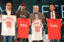 Neymar Jr. was officially welcomed as Global Brand Ambassador of TCL and presented with a Chinese stamp by Sean Zhang, General Manager of Brand Management Center. In exchange, his autographed football shirt was presented to Kevin Wang, Senior Vice President of TCL Corporation and CEO of TCL Multimedia, Sean Zhang, General Manager of Brand Management Center of TCL Corporation and Dr. Affonso Brandao Hennel, joint venture partner of TCL in Brazil. (TCL Multimedia)