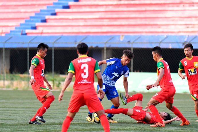 Action from BFC 'B's 2-2 draw against TRAU FC at the Bangalore Football Stadium, in Bengaluru. (Photo courtesy: Bengaluru FC)