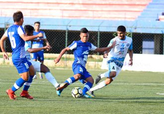 Bengaluru FC 'B' striker Lamgoulen Hangshing scores the second goal against Jamshedpur FC Reserves in a Second Division League clash at the Bangalore Football Stadium, on Wednesday. (Photo courtesy: Bengaluru FC)