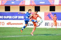 Bengaluru FC skipper Sunil Chhetri in action against NEROCA FC's Gouramangi Moirangthem Singh in the Super Cup quarterfinal, at the Kalinga Stadium, in Bhubaneshwar. (Photo courtesy: Bengaluru FC)