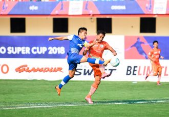 Bengaluru FC skipper Sunil Chhetri in action against NEROCA FC's Gouramangi Moirangthem Singh in the Super Cup quarterfinal, at the Kalinga Stadium, in Bhubaneshwar. (Photo courtesy: Bengaluru FC)