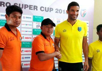 Pre-match press conference ahead of the Hero Super Cup 2018 match Kerala Blasters FC v NEROCA FC. (Photo courtesy: AIFF Media)