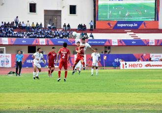 Match action during the Hero Super Cup 2018 quarter-final Mohun Bagan AC vs Shillong Lajong FC in Bhubaneswar. (Photo courtesy: Shillong Lajong FC)