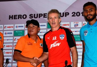 Pre-match press conference ahead of the Hero Super Cup 2018 clash NEROCA FC v Bengaluru FC. (Photo courtesy: AIFF Media)