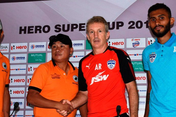 Pre-match press conference ahead of the Hero Super Cup 2018 clash NEROCA FC v Bengaluru FC. (Photo courtesy: AIFF Media)