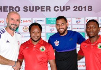 Pre-match press conference ahead of the Hero Super Cup 2018 match FC Pune City vs Shillong Lajong FC. (Photo courtesy: AIFF Media)