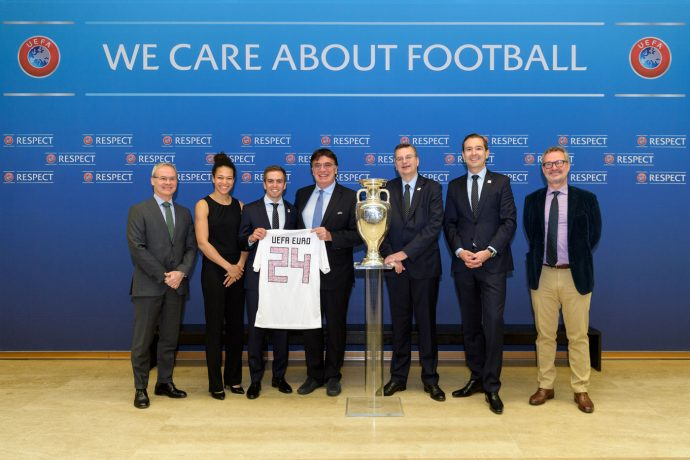 UEFA Deputy General Secretary Giorgio Marchetti, Celia Sasic, Philipp Lahm UEFA General Secretary Theodore Theodoridis, German Football Association (DFB) President Reinhard Grindel, German Football Association (DFB) General Secretary Friedrich Curtius and UEFA Head of National Team Competitions Lance Kelly during the UEFA EURO 2024 Bid dossier submission by the DFB at the UEFA headquarters, the House of European Football on April 24, 2018 in Nyon, Switzerland. (Photo by Harold Cunningham - UEFA/UEFA via Getty Images)