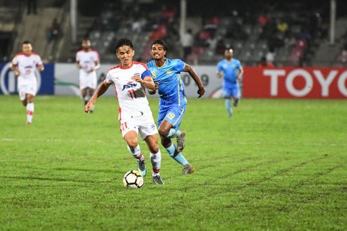 Bengaluru FC skipper Sunil Chhetri in action against Abahani Dhaka in an AFC Cup encounter at the Bangabandhu National Stadium, in Bangladesh. (Photo courtesy: Bengaluru FC)