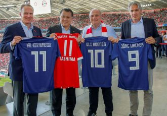 Karl-Heinz Rummenigge (CEO, FC Bayern München AG), Kohzo Tashima (President, JFA), Uli Hoeneß (President, FC Bayern München eV) and Jörg Wacker (Executive Board Member for Internationalisation and Strategy, FC Bayern München AG) - (Photo courtesy: © FC Bayern München AG)