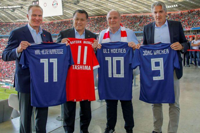Karl-Heinz Rummenigge (CEO, FC Bayern München AG), Kohzo Tashima (President, JFA), Uli Hoeneß (President, FC Bayern München eV) and Jörg Wacker (Executive Board Member for Internationalisation and Strategy, FC Bayern München AG) - (Photo courtesy: © FC Bayern München AG)