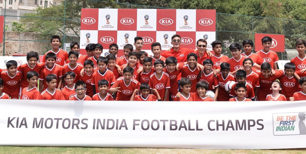 Kia Motors India selects kids as Official Match Ball Carriers for 2018 FIFA World Cup (Photo courtesy: Kia Motors India)