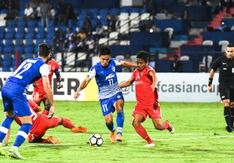 Bengaluru FC skipper Sunil Chhetri in action against Aizawl FC in an AFC Cup encounter. (Photo courtesy: Bengaluru FC)