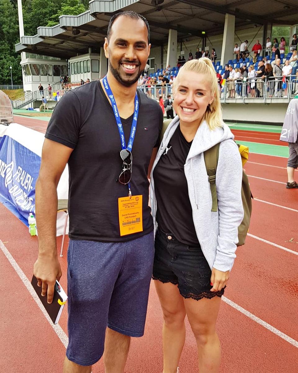 "Chris Punnakkattu Daniel and SGS Essen captain Ina Lehmann at the ""Sportpark am Hallo"" in Essen. (© CPD Football)"