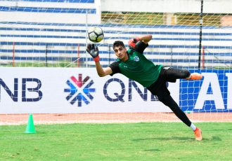 Bengaluru FC goalkeeper Gurpreet Singh Sandhu in training at the Kanteerava Stadium, in Bengaluru. (Photo courtesy: Bengaluru FC)
