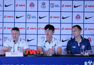 Chinese Taipei coach Gary White at the Hero Intercontinental Cup 2019 pre-match press conference. (Photo courtesy: AIFF Media)