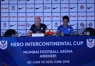 India coach Stephen Constantine and skipper Sunil Chhetri during the Hero Intercontinental Cup 2018 pre-match press conference. (Photo courtesy: AIFF Media)