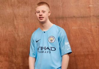 Members of Manchester City's Community Foundation help unveil club's 2018-19 kit (Photo courtesy: Nike)