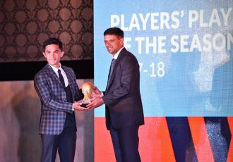 Sunil Chhetri and Rahul Dravid at the Bengaluru FC Awards Night 2018 (Photo courtesy: Bengaluru FC)