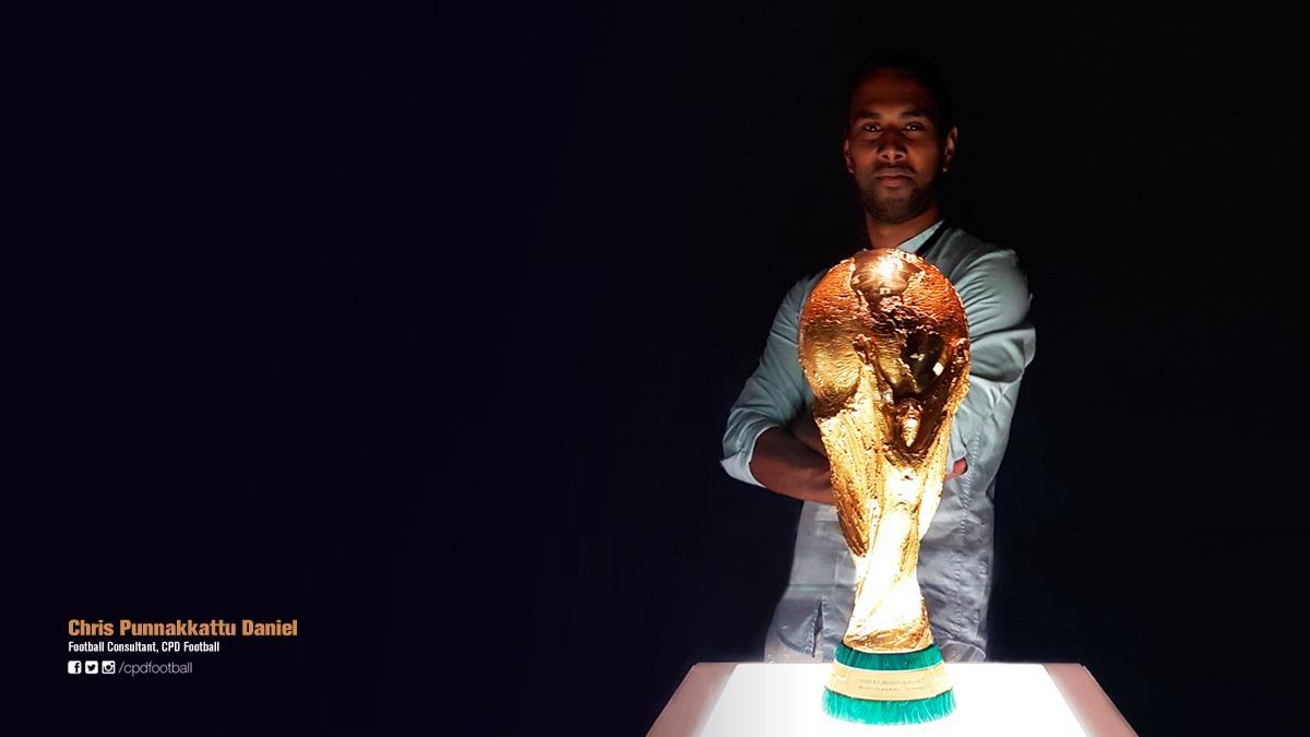 Chris Punnakkattu Daniel (CPD Football) with the FIFA World Cup trophy. (© CPD Football)