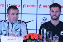 New Zealand head coach Fritz Schmid and left back Thomas Doyle at the Hero Intercontinental Cup pre-match press conference in Mumbai. (Photo courtesy: AIFF Media)