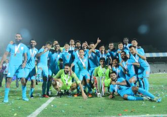 The Indian national team celebrating its Hero Intercontinental Cup 2018 victory. (Photo courtesy: AIFF Media)