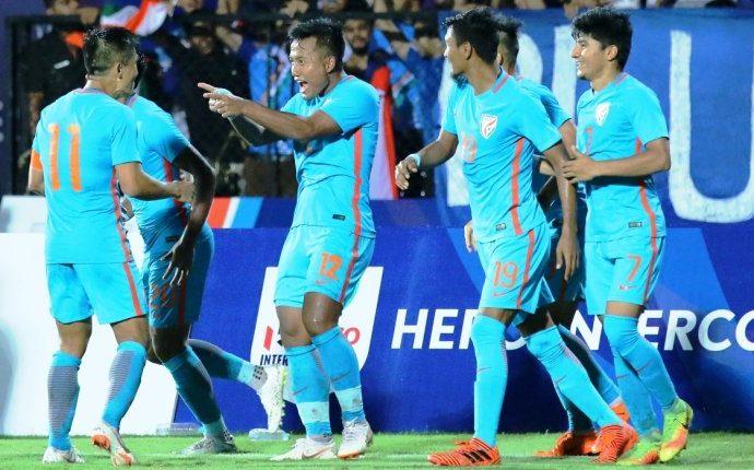 Indian national team player celebrating a goal. (Photo courtesy: AIFF Media)