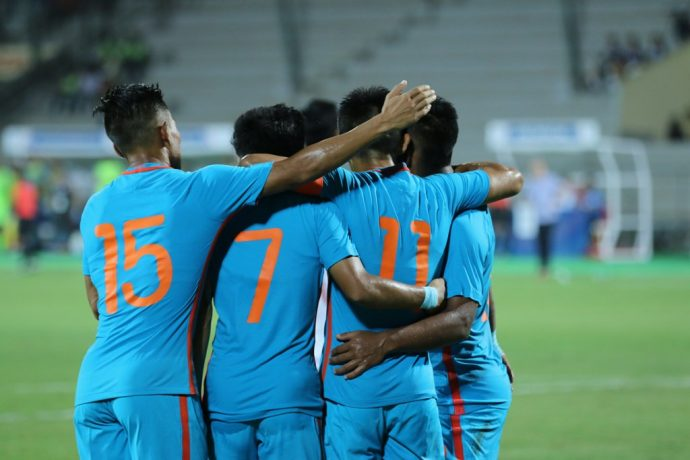 Indian national team player celebrating a goal. (Photo courtesy: AIFF Media)