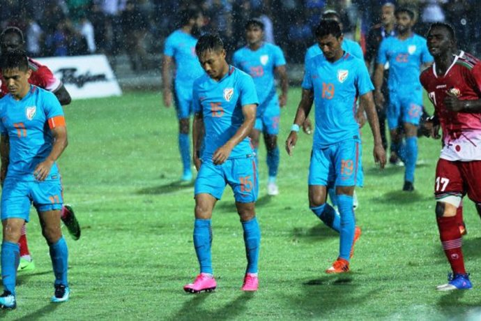 Indian national team players after their Hero Intercontinental Cup 2018 match against Kenya in Mumbai. (Photo courtesy: AIFF Media)