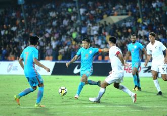 Indian national team captain Sunil Chhetri in action against New Zealand in the Hero Intercontinental Cup 2018 in Mumbai. (Photo courtesy: AIFF Media)