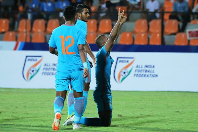 Indian national team youngster Pronay Halder celebrating his goal against Chinese Taipei in the Hero Intercontinental Cup 2018. (Photo courtesy: AIFF Media)