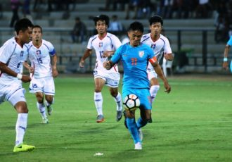 Indian national team captain Sunil Chhetri in action against Chinese Taipei in the Hero Intercontinental Cup 2018. (Photo courtesy: AIFF Media)