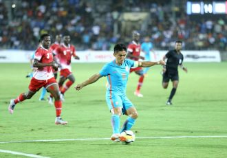 Indian national team captain Sunil Chhetri in action against Kenya in the final of the Hero Intercontinental Cup 2018 in Mumbai. (Photo courtesy: AIFF Media)
