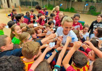 Toni Duggan kicks Off the Soccer Aid Playground Challenge for Unicef. (Photo courtesy: Unicef)